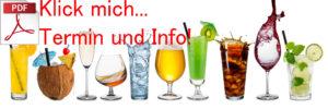 Reihe von verschiedenen Getränken vor weißem Hintergrund